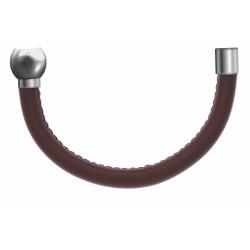 Apollon - Collection MiX - Bracelet acier (moitié) cuir italien marron - diamètr