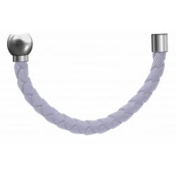 Apollon - Collection MiX - Bracelet acier (moitié) cuir tressé italien blanc - diamètre 5mm - longueur 9,25cm