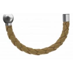 Apollon - Collection MiX - Bracelet acier (moitié) cuir tressé italien jaune moutarde - diamètre 5mm - longueur 9,25cm