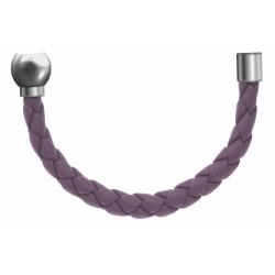 Apollon - Collection MiX - Bracelet acier (moitié) cuir tressé italien lila - diamètre 5mm - longueur 9,25cm