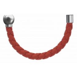 Apollon - Collection MiX - Bracelet acier (moitié) cuir tressé italien orange - diamètre 5mm - longueur 9,25cm