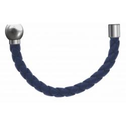 Apollon - Collection MiX - Bracelet acier (moitié) cuir tressé italien bleu foncé - diamètre 5mm - longueur 9,25cm