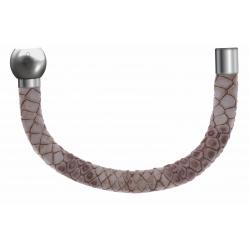 Apollon - Collection MiX - Bracelet acier (moitié) cuir italien impression peau de serpent - diamètre 5mm - longueur 9,25cm