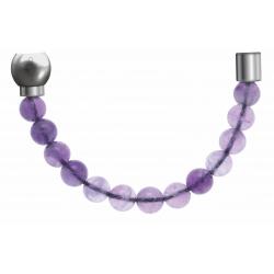 Apollon - Collection MiX - Bracelet acier (moitié) améthyste - diamètre 6mm - longueur 9,25cm