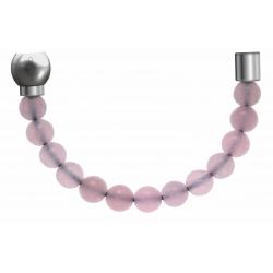 Apollon - Collection MiX - Bracelet acier (moitié) quartz rose - diamètre 6mm - longueur 9,25cm