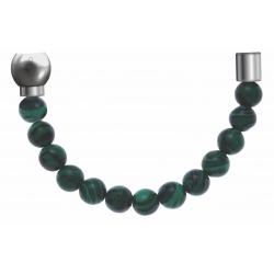 Apollon - Collection MiX - Bracelet acier (moitié) malachite - diamètre 6mm - longueur 9,25cm