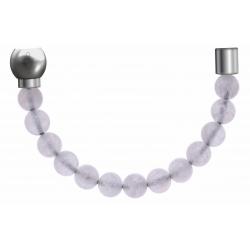 Apollon - Collection MiX - Bracelet acier (moitié) pierre de lune - diamètre 6mm - longueur 9,25cm