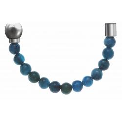 Apollon - Collection MiX - Bracelet acier (moitié) apatite - diamètre 6mm - longueur 9,25cm
