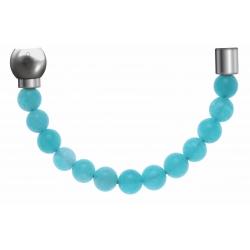 Apollon - Collection MiX - Bracelet acier (moitié) jade vert - diamètre 6mm - longueur 9,25cm