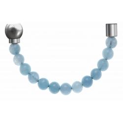 Apollon - Collection MiX - Bracelet acier (moitié) jade teinté en bleu - diamètre 6mm - longueur 9,25cm