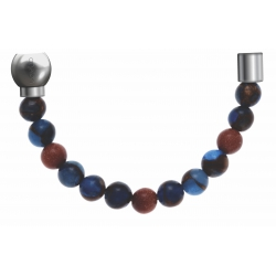 Apollon -Collection MiX-Bracelet acier(moitié) agate teintée en bleu foncé,bronzite,pierre de soleil-diamètre 6mm-longueur9,25cm