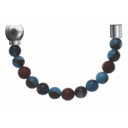 Apollon -Collection MiX-Bracelet acier(moitié) agate teintée en bleu clair,bronzite,pierre de soleil-diamètre 6mm-longueur9,25cm