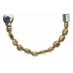 Apollon - Collection MiX - Bracelet acier (moitié) hématite enrobé (doré) - diamètre 6mm - longueur 9,25cm