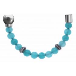 Apollon - Collection MiX - Bracelet acier (moitié) jade verte - composants acier - longueur 9,25cm