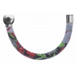 Apollon-Collection MiX-Bracelet acier-moitié-cuir italienImpressionFleurs multicolores dominanteGrise-diamètre5mm-longueur9,25cm