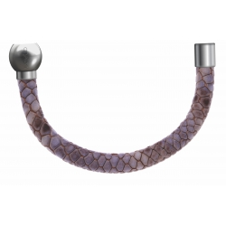 Apollon - Collection MiX - Bracelet acier (moitié) cuir italien impression peau de serpent violet- diamètre 5mm-longueur 9,25cm