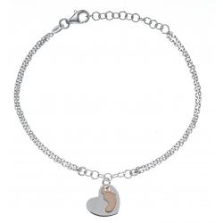 Bracelet argent rhodié 2,8g - 2 tons - rhodié et rosé - 2 fils - cœur et pied bébé