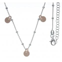 Collier argent rhodié 3,9g - 2 tons - rhodié et rosé - pampilles rondes - 40+5cm