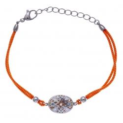 Bracelet acier - nacre - émail - coton orange - 17+3cm