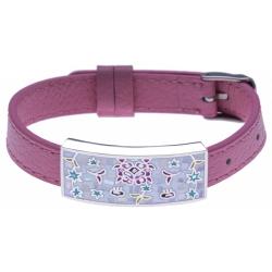 Bracelet acier - émail - nacre - cuir rose - largeur 1cm - bracelet montre réglable
