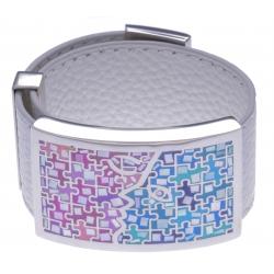 Bracelet acier - émail - nacre - cuir blanc - largeur 3cm - longueur 23,5cm