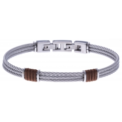 Bracelet acier - 3 cables acier - corde nautique marron - 19,5+1,5cm - réglable