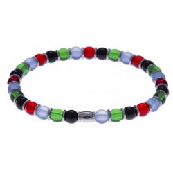 Bracelet acier - verre de murano - tons verts,blancs et noir et rouge - élastique - 20cm