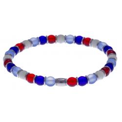 Bracelet acier - verre de murano - tons rouge, bleu, blanc - élastique - 20cm