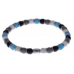 Bracelet acier - verre de murano - tons bleu clair, noir, gris, blanc - élastique - 20cm