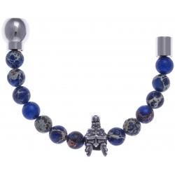 Collection MiX - Moitié - jaspe impériale teintée bleue 6mm - gladiator - longueur 10,75cm