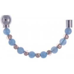Apollon - Collection MiX - Moitié - jade teintée bleue 6mm - hématite rosé enrobée - longueur 9,25cm
