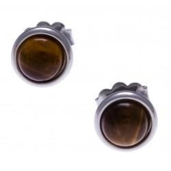 Boucles d'oreille en acier - cabochon œil de tigre 8mm