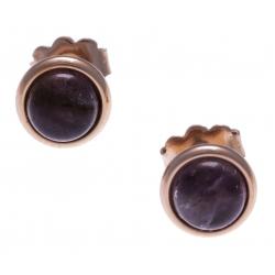Boucles d'oreille en acier rosé - cabochon améthyste 8mm