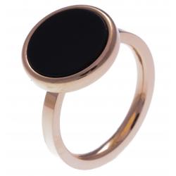 Bague en acier rosé - onyx - diamètre 14 mm - T50 à 60