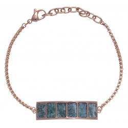 Bracelet en acier rosé - amazonite - longueur 16+4cm