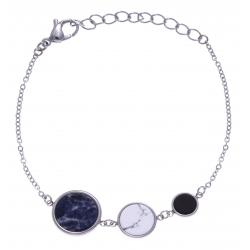Bracelet en acier - sodalite, howlite et onyx - diamètre 14, 11 et 8mm - longueur - 16+4cm