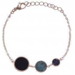Bracelet en acier rosé - onyx, amazonite et sodalite  - diamètre 14, 11 et 8mm - longueur - 16+4cm