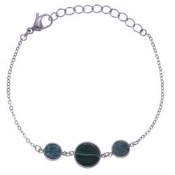 Bracelet en acier - malachite, et amazonite - diamètre 8, 11 et 8mm - longueur - 16+4cm