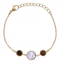 Bracelet en acier doré - howlite blanche et œil de tigre  - diamètre 8, 11 et 8mm - longueur - 16+4cm