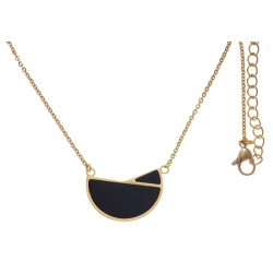 Collier en acier doré - onyx - 40+10cm