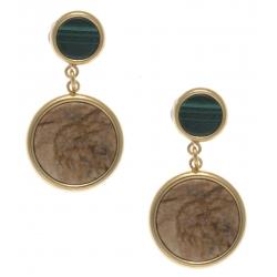 Boucles d'oreille en acier doré - malachite et jaspe paysage diamètre 14 et 8mm