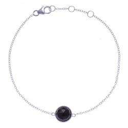 Bracelet argent rhodié 1,5g - onyx facetté - 17+1+1cm
