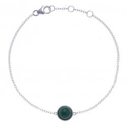 Bracelet argent rhodié 1,5g - malachite facetté - 17+1+1cm