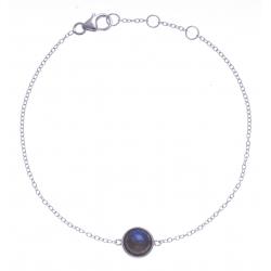 Bracelet argent rhodié 1,5g - labradorite facetté - 17+1+1cm