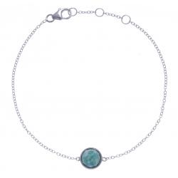 Bracelet argent rhodié 1,5g - amazonite facetté - 17+1+1cm