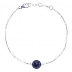 Bracelet argent rhodié 1,5g - lapis lazuli facetté - 17+1+1cm