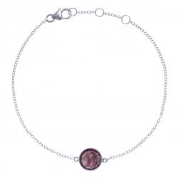 Bracelet argent rhodié 1,5g - rhodocrosite facetté - diamètre 8,5mm - 17+1+1cm