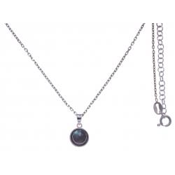 Collier argent rhodié 3g - labradorite facetté - 38+5cm
