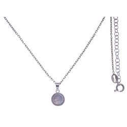 Collier argent rhodié 3g -  pierre de lune facetté - 38+5cm