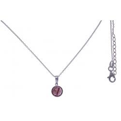 Collier argent rhodié 3g -  rhodocrosite facetté - 38+5cm